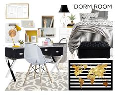 """POLYVORE CONTEST: DORM DECOR"" by mbtherrell ❤ liked on Polyvore featuring interior, interiors, interior design, home, home decor, interior decorating, Somerset Bay, PBteen, ferm LIVING and Broste Copenhagen"