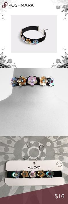 Aldo 'Astilewen' Flower Choker Velvet ribbon blossoms and blooms with pop-art rendered flowers, bold colour combos and sparkling stones. Length is approx 12''. Main material is textile. Bundle for discounts! Thank you for shopping my closet! Aldo Jewelry Necklaces