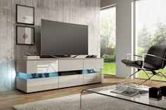 Szafka RTV MORGAN to idealny mebel do nowoczesnego salonu, stworzony przez polską firmę o wieloletnim doświadczeniu. Ruang Tv, Armoire, White Tv Unit, Design Moderne, Led, Countertop, Cabinet, Living Room, Interior