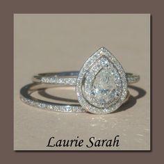 Pear Shaped Diamond Engagement Ring with Diamond Wedding Band - LS1403. $8,677.20, via Etsy.