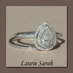 Pear Shaped Diamond Engagement Ring with Diamond Wedding Band - LS1403. $8,677.20, via Etsy.