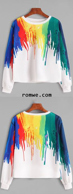 Shop Multicolor Splash Print Casual Sweatshirt at ROMWE, discover more fashion styles online. Colourful Outfits, Cool Outfits, Casual Outfits, Fashion Outfits, Cute Sweatshirts, Printed Sweatshirts, Kinds Of Clothes, Pulls, Types Of Fashion Styles