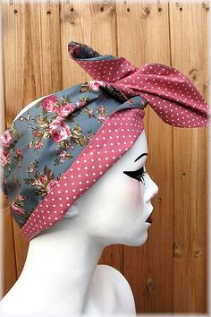 Blue-Grey Vintage Rose Hairband with Pink Polkadots