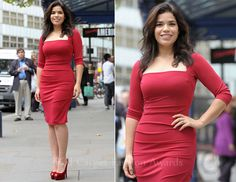 Amazing!!  Love the color and the way it fits!  America Ferrera In Nicole Miller – 'Chicago' London Photocall