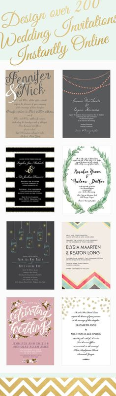 Over 200 wedding invitations that can be instantly designed online in over 160 different colors. - more on http://eweddingssecrets.com