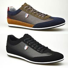 Mens NEW Shoes Leather Suede Black Khaki Smart Trainers Casual UK 6 7 8 9 10 11 | eBay