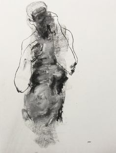 Gestural Male Figure Drawing - 18 x 24, fine art - Drawing 142 - pastel on paper - original drawing by Derek Overfield Art.