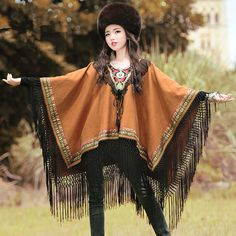 BOHOCHIC Original Picasso Style Ethnic Bohemian Embroidery Ladies Tassel Dolman Women Cotton Coat XB0038Q Boho Chic