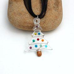Fused Glass Christmas Tree Pendant or Mini Tree Ornament