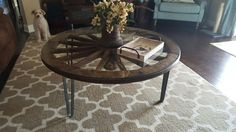 Teak wagon wheel coffee table