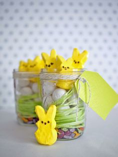 Make an Easter version of a terrarium. Fill Mason jars with a layer of chocolate rocks, followed by edible grass, candy eggs and marshmallow bunnies. Tie with ribbon and attach gift tags so guests can enjoy them at home.