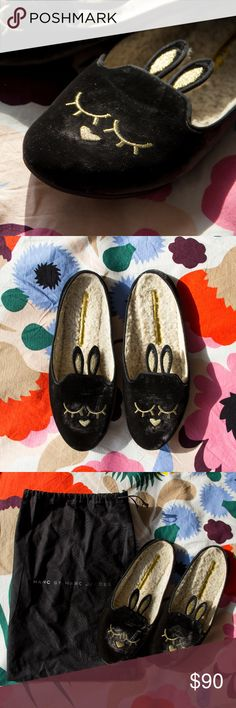 "NWOT Marc by Marc Jacobs Sleeping Bunny Slipper Velvet upper Metallic embroidery forms bunny face Notched vamp with bunny ears Faux-shearling (acrylic/polyester) lining Rubber sole, 0.25"" flat heel Includes original shoe/dust bag Excellent NWOT condition, purchased new in 2014 and never worn 39 EU, but they fit like an 8–8.5. I'm a pretty solid size 9–9.5 with a wide foot, and these are too small and narrow for me. Marc by Marc Jacobs Shoes Slippers"