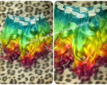 Balayage Dip Dye 8A Remy Dip Dye Ombre Balayage Clip In Human Hair Extensions Multi Turquoise Green Yellow Coral Pink & Purple