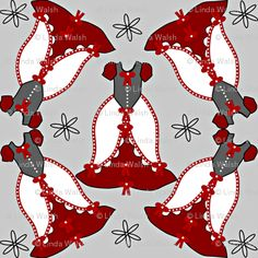 Linda Walsh Originals Fabric Designs: Victorian Red, Gray, and White Dress Fabric - New Fabric