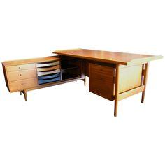 L Shaped Desk And Credenza By Arne Vodder For Sibast