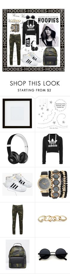 """""""Adidas!!!"""" by nejry ❤ liked on Polyvore featuring Pottery Barn, adidas, Beats by Dr. Dre, Madewell, Jessica Carlyle, GUESS, Claudia Canova and Hoodies"""