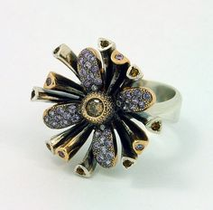 Ring | Metal and Stone Elite Designs. Champagne and white diamonds, amethysts, 14k yellow gold and sterling silver.