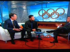"""In a segment from the Sochi Olympics, broadcasters are seated around the Charleston Forge """"Oculus."""""""
