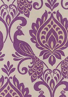 boutique dixons wallpaper - modern metallic with a opulent purple damask style design Textiles, Textile Patterns, Flower Patterns, Embroidery Patterns, 3d Pattern, Pattern Design, Weave Shop, Paper Cutting Templates, Damasks