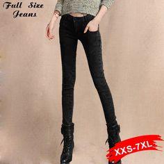 (33.41$)  Watch here - http://aiu0h.worlditems.win/all/product.php?id=32654625433 - Black Skinny Jeans Extra Long Pencil Jeans14 16 18 20 22W 24L L32 34 36 38 40W Xxxl 4Xl 5Xl Plus Size Denim Pants Religion Women