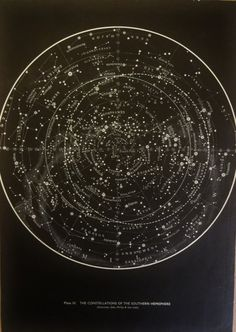 1950s Original Stars with Constellations Maps Hemispheres Vintage Astronomy Astrology Print