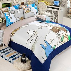 MeMoreCool New Arrival!Japanese Anime My Neighbor Totoro Cartoon 4 Pieces Bedding Set 100& Cotton Cute Totoro Duvet Cover Set Kids Bedding Set Anime Bed Sheets MeMoreCool http://www.amazon.com/dp/B00VD7G2TC/ref=cm_sw_r_pi_dp_Ap.Avb1GFV2KW