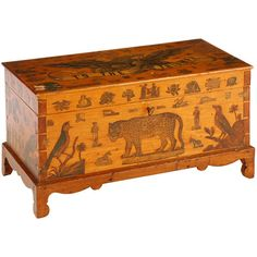 American Folk Art Miniature Blanket Chest  American  19th Century  A Maple miniature blanket chest circa 1830 decorated with Decoupage to celebrate     the Centennial in 1876
