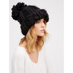 Bobbi Chunky Pom Beanie (77 CAD) ❤ liked on Polyvore featuring accessories, hats, pompom hat, chunky knit hat, knit beanie, pom pom hat and beanie cap