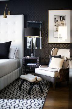 Beautiful black and white bedroom by Stellarsky Designs