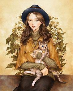 Chica con su gato by aeppol