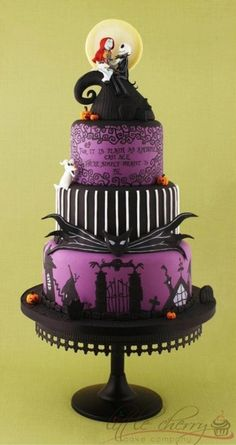 Nightmare Before Christmas inspired Wedding Cake
