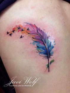 Tatuaje de/Tattooed by @javiwolfink #JaviWolf #tattoo #tatuaje #watercolortattoo #tat #art