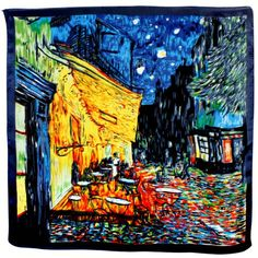 100% Satin Charmeuse Silk-Van Gogh`s Cafe Terrace at Night Hand Rolled Edges Square Scarf Shawl $29.95