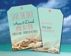 Save the date luggage tags for your upcoming destination wedding in Punta Cana, Mexico, Jamaica, any Caribbean location. Coral starfish with aqua background beach scene, complete with sand and seashells framing the tag. Travel details with agents info. Cut edges on diagonal similar to true tag. All color options available.  Save the date is 5.5x4 printed on 100 lb. tango card stock for good durability and light coating. Comes with cream envelopes. Minimum print order of 20 sets…