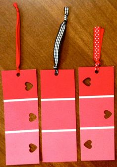 Set of 3 pink paint swatch bookmarks- cute & easy! Paint Chip Cards, Paint Sample Cards, Paint Samples, Fun Crafts, Crafts For Kids, Arts And Crafts, Paper Crafts, Easy Valentine Crafts, Rum