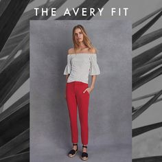 Make Monday (or any day!) a whole lot brighter with some cherry red pants. These are our Avery Fit: Mid-rise, and fitted straight through the hip and thigh, and the ankle length is perfect for showing off your shoes. Pair it with an off-the shoulder statement top and some espadrilles for a fresh summer look.