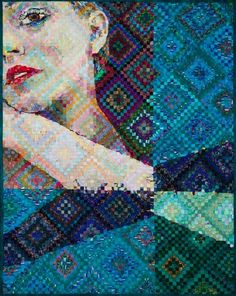 """Sunshine and Shadow -Turquoise"" (48"" x 38"") by Deb Hyde. "" 'Sunshine and Shadow' is the name of this very old and traditional quilt pattern, but my interpretation is anything but traditional!"" This is amazing!"
