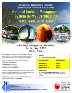 National Incident Management System training, gain your certificate Safe Schools, Harris County, Education Center, Certificate, Gain, Management, Training, Work Outs, Excercise