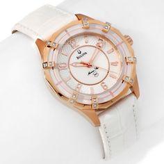 "Bulova Ladies' ""Marine Star"" 1.28ct Diamond Bezel White Strap Watch at HSN.com."