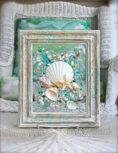 Beach Decor of Seashell Art, Beach Bathroom Decor Wall Hanging, Sand Dollar Art, Sea glass Art, Coastal Decor of Seashell Glass Art - Decoration Ideas Seashell Art, Seashell Crafts, Beach Crafts, Sea Glass Crafts, Sea Glass Art, Clear Glass, Broken Glass Crafts, Stained Glass, Plage Art Mural