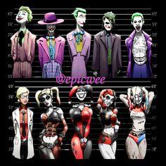 Joker, Harley Quinn, Riddler, and Penguin 4 Prints at discount price. - Joker und Harley Quinn Line-Ups. 2 11 x 17 Drucke von Epicwee - Joker Y Harley Quinn, Harley Queen, Comic Art, Comic Books, Comic Movies, Joker Art, Batman Universe, Dc Universe, Birds Of Prey