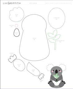 felt toy KOALA of felt. Template and Master Class Felt Animal Patterns, Felt Crafts Patterns, Stuffed Animal Patterns, Stuffed Animals, Felt Templates, Applique Templates, Applique Patterns, Card Templates, Koala Craft