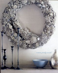 Gorgeous!! costume jewelry wreath, won't use my classic pieces, but am going to thrift some to make this........k