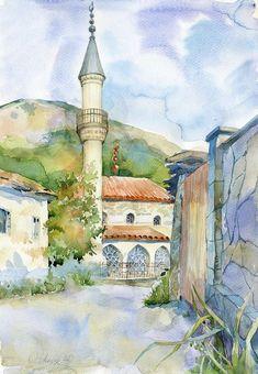 Aquarelle architecture mosquée originale peinture par OlgaSternyk