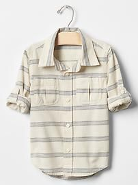 Stripe convertible chambray shirt