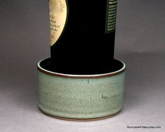 Wine Bottle Coaster, Hand Thrown Ceramic Pottery by HurricanePottery on Etsy, 18.00
