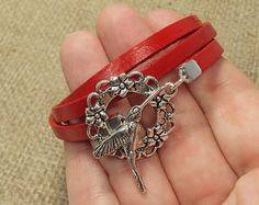 Red Leather Bracelet with Humming Bird Clasp by JustKJewellery, £10.00