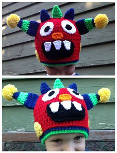 Crochet Monster Hat Child / Youth Size READY TO by WithLovebyJenni, $22.00
