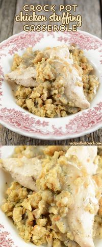 This Easy Crock Pot Chicken Stuffing Casserole is so simple and a classic comfort food.