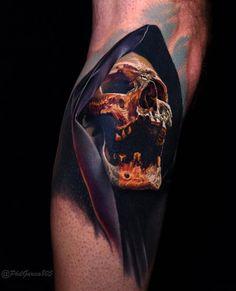 Skull Tattoo by Phil Garcia